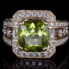 14k Gold Ring W/ 4.75ct. Pakistan Peridot &