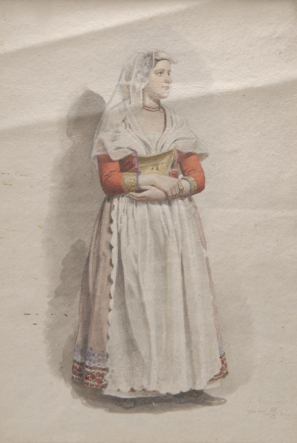 1009: Carl Grünwedel, Frau in Tracht, 1848