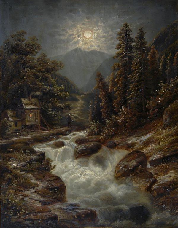 1019: August Forstmann, Nächtliche Gebirgslandschaft, u