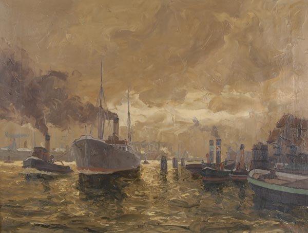 3002: Erich Mercker, Im Hamburger Hafen, um 1930