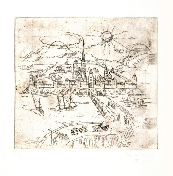 3012: Rudolf Baschant, Fortified Town near Water, 1930