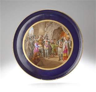 10: Dresden, Porzellan-Malerei; Plate with painted Scen