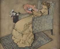 817: Niemeyer, Adelbert; Girl in an Armchair', 1905