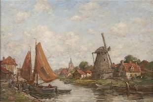 Jacob Henricus Maris, Dutch Landscape with Windmill,