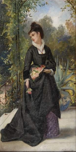 Edward Charles Barnes, Dame auf einer Terrasse, um