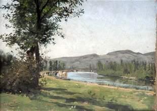 Gustave Karcher, Kühe am Flussufer, um 1890