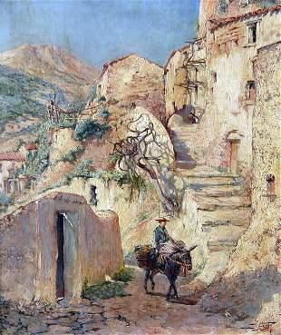 Unbekannter Maler, Südfrankreich, Gasse in Roquebru