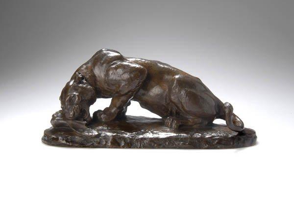 15: Charles Valton, Fressende Löwin, um 1880
