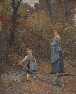 Caspar Ritter, Mutter und Kind im Herbstwald, 1893
