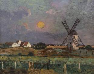 Henri Alexandre Eugène Chigot, Landscape with Windm