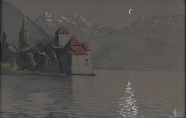 18: Henri Hébert, Chateau Chillon am Genfer See, um 190