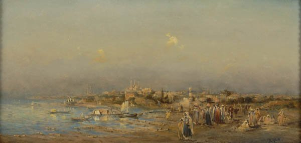 20: Robert Alott , Town at the Seaside, around 1890