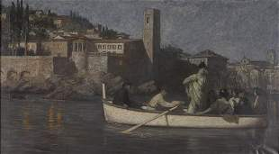 Hans Deiters, Boat-Rowing at Night, around 1900