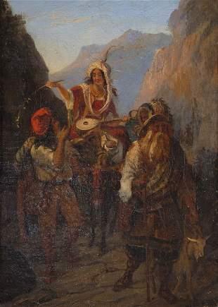 Unbekannter Künstler, Reiterzug durch das Gebirge, u