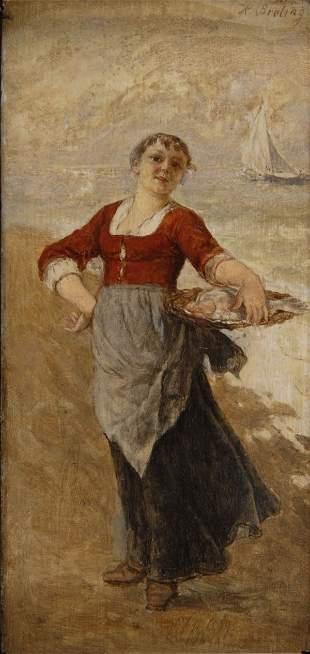 Heinrich Breling, Fischverkäuferin, um 1880