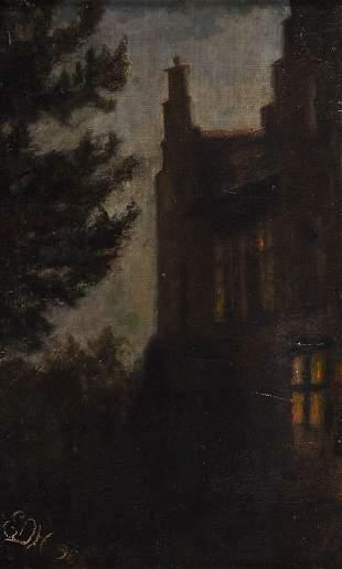 Unbekannter Künstler E.D.H., Nächtliches Schloß, 18