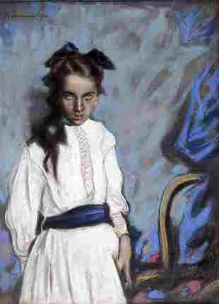 Hugo von Habermann, Portrait of a Girl, 1912