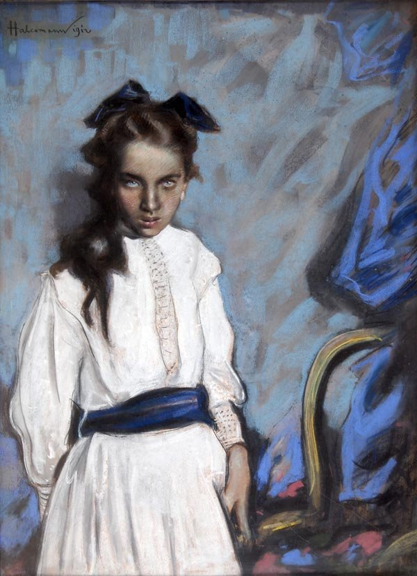 1001: Hugo von Habermann, Portrait of a Girl, 1912