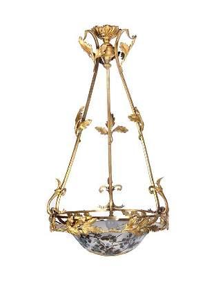 Emile Gallé, Nancy, Ceiling Lamp, around 1920