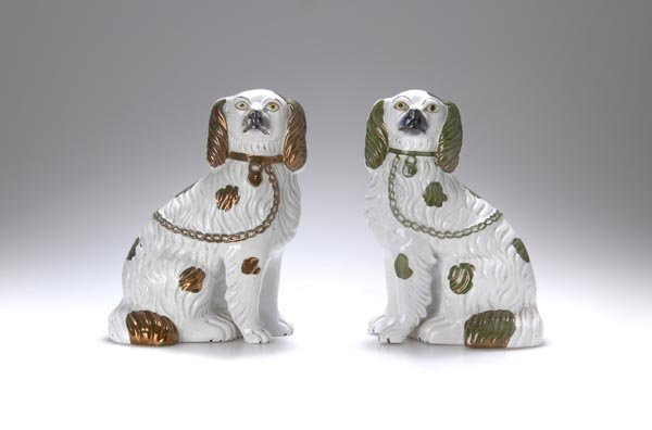 7: Staffordshire, England, Two fireplace dogs, ca. 1880