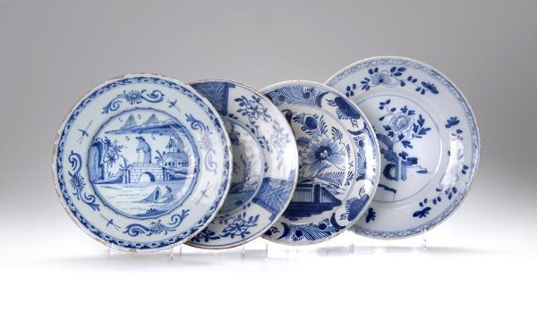 11: Delft, Four plates, 18th and 19th c.
