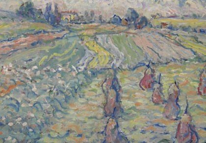 1: Fritz Berz, Landschaft mit Heugarben, um 1920