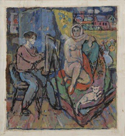 4: Fritz Berz, Der Maler und sein Modell im Atelier, um