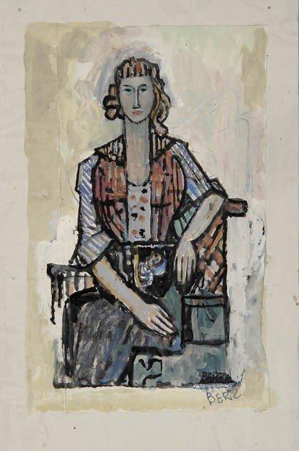 7: Fritz Berz, Porträt der Ehefrau des Malers, um 1930