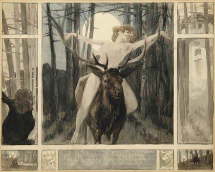 10: Franz von Bayros, Im Mondschein auf einem Hirsch re