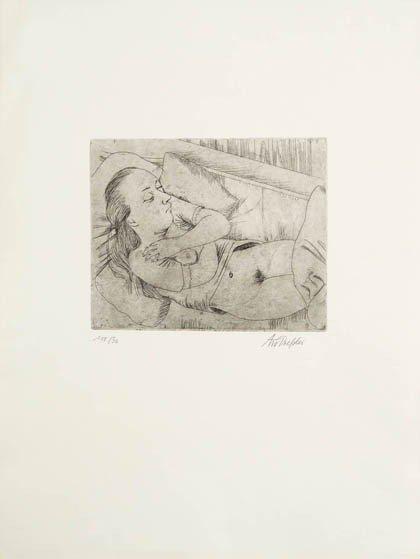 17: August Wilhelm Dressler, Schlafendes Mädchen, 1925