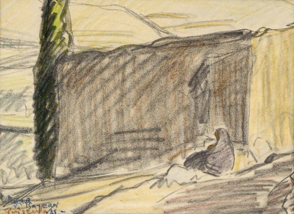 3: Maria del Pilar von Bayern, An einer Mauer sitzende