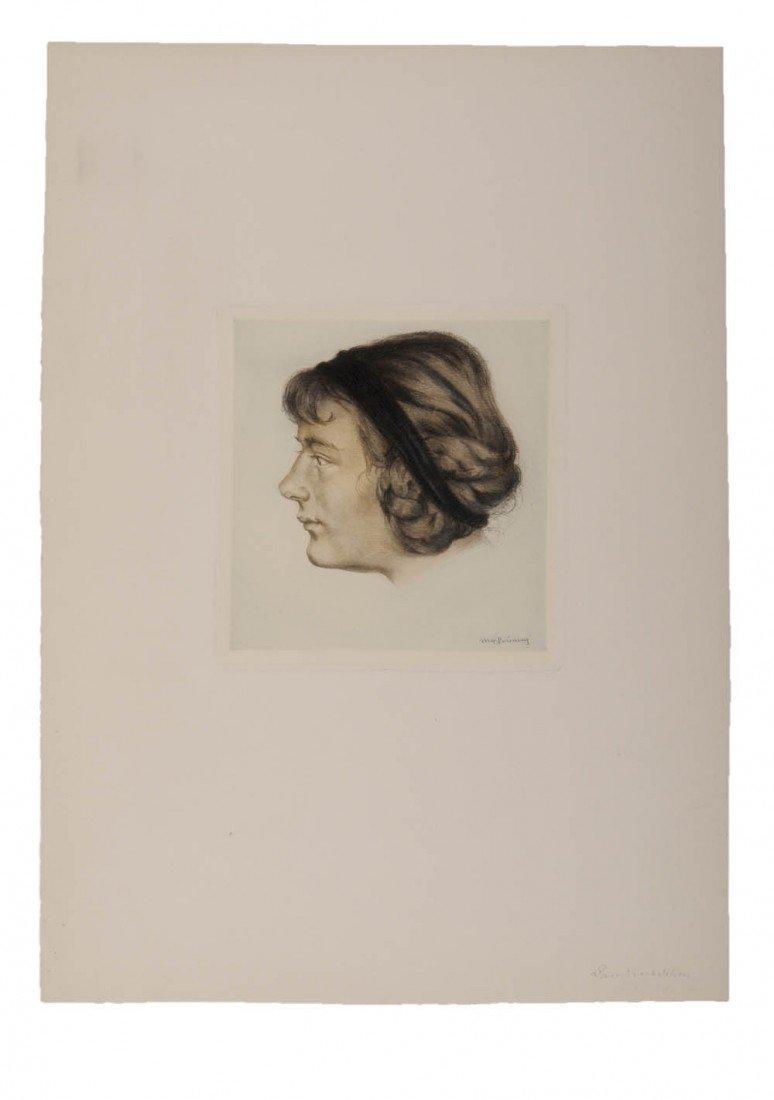 6: Max Brüning, Frauenporträt nach Links ('Landmädchen'