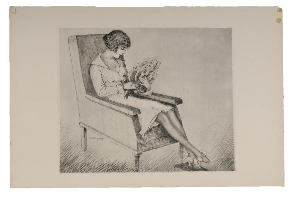 8: Max Brüning, Junge Frau im Sessel sitzend, um 1920
