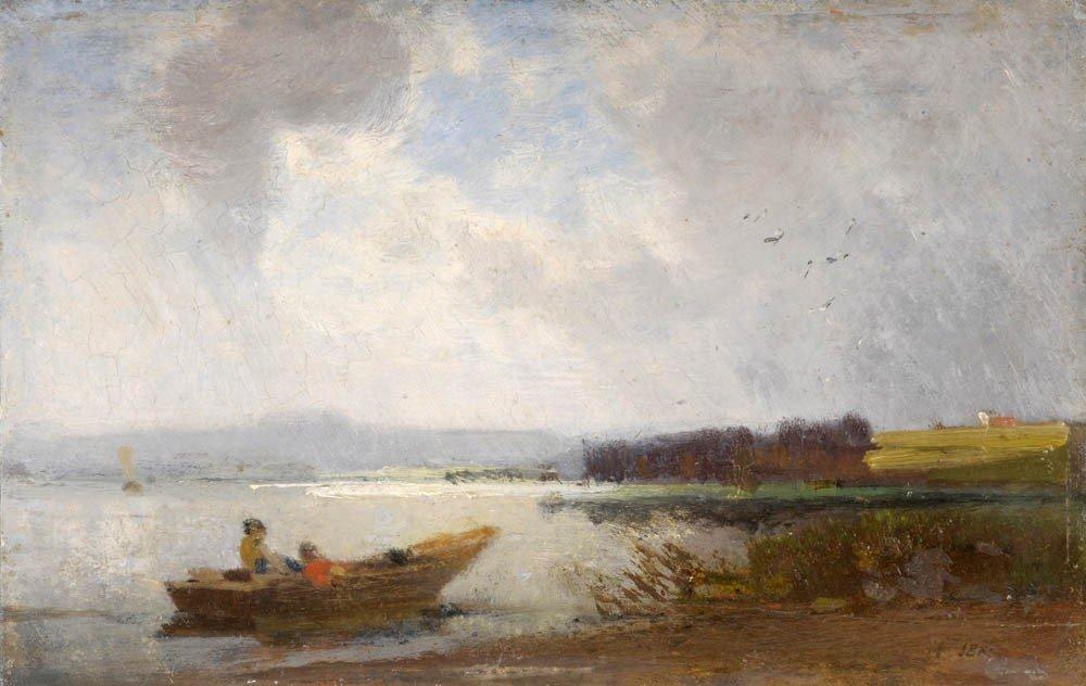 14: Heinrich Deuchert, Ufer am Chiemsee mit Fischerboot