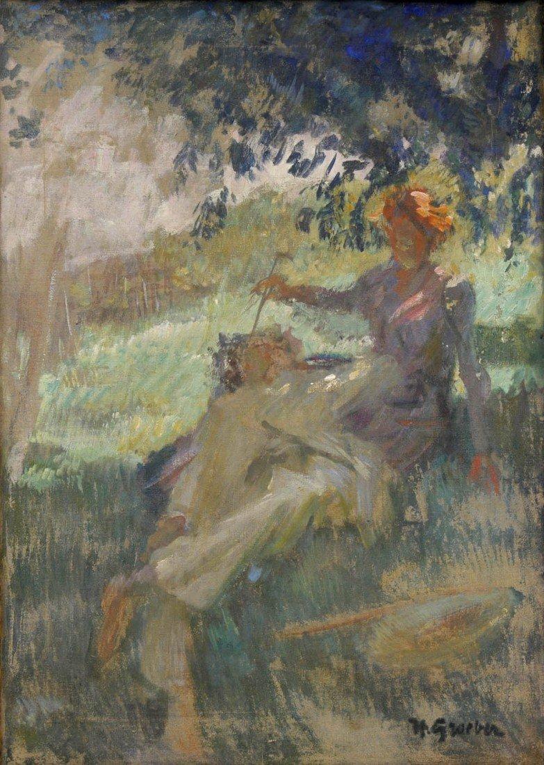 22: Hermann Groeber, Unter Bäumen Sitzende, um 1900