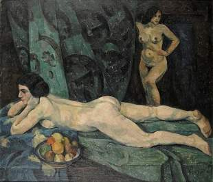 Leopold Durm, Interior with two female nudes, about