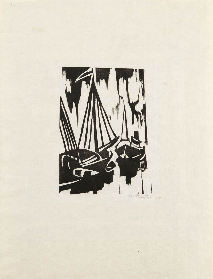 11: Max Pechstein, 'Steam boat and rowing boat', 1911