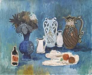 Max Peiffer Watenphul, 'Stilleben in Blau mit Flasc