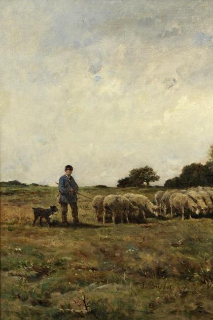 2: Franck Brissot, Landschaft mit Schäfer, um 1900