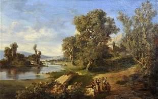 Louis Emile Dardoize, Landschaft mit Figurenstaffage