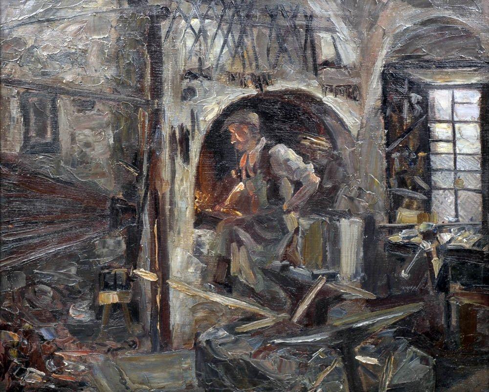 11: Eduard Bechteler, In der Schmiede, um 1925