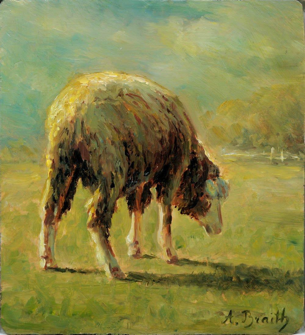 20: Anton Braith, Grasendes Schaf, um 1880