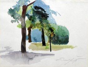 Ernst Fuchs, Landschaftsstudie, Um 1975