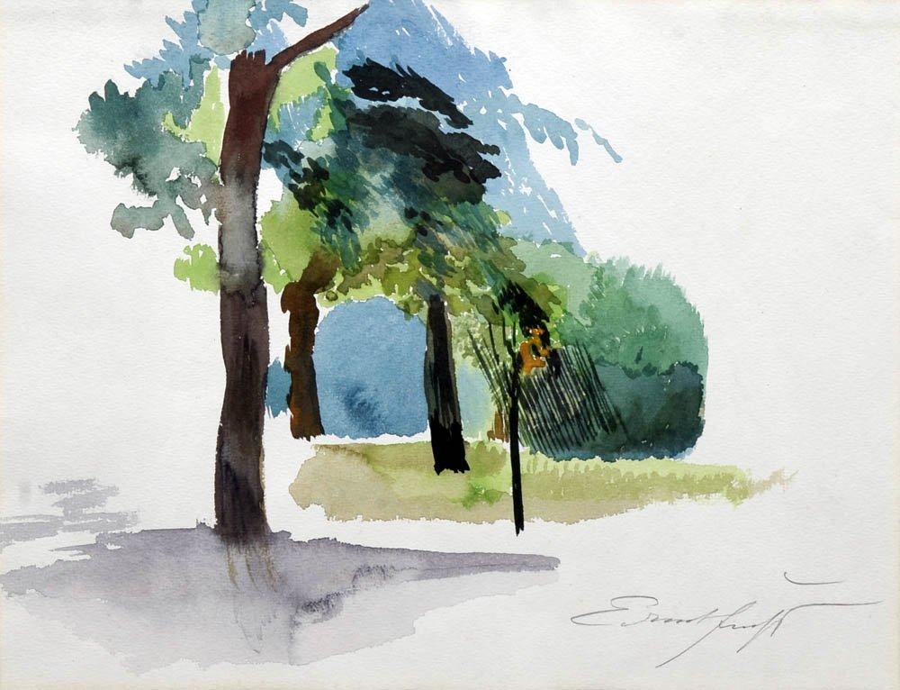 76: Ernst Fuchs, Landschaftsstudie, um 1975