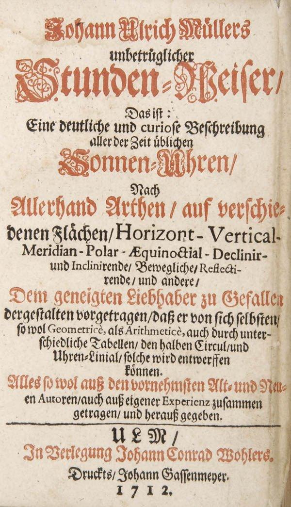 21: Johann Ulrich Müller, Unbetrüglicher Stunden-Weiser