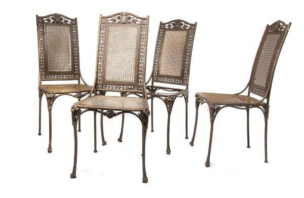 3019: Bohemia, Set of Four Iron Chairs, around 1850