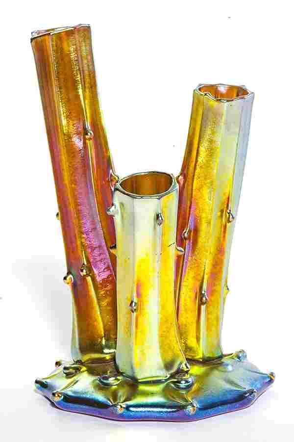 "Steuben Gold Aurene Stump, or ""Rustic"" vase, shape"