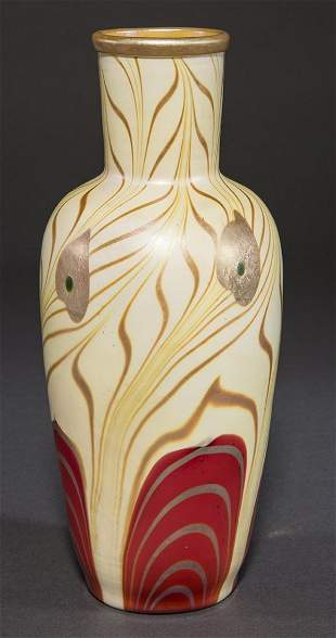 Fabulous and rare Steuben decorated red on Alabaster