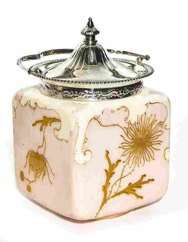 Mt. Washington decorated biscuit jar, squared body in