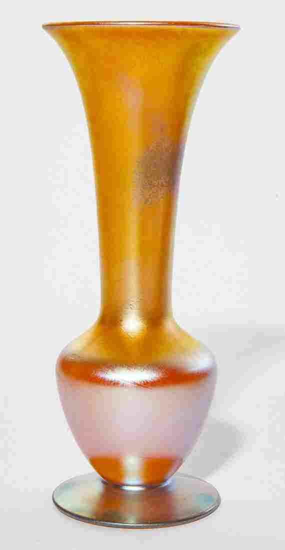 Durand footed vase, elongated flared neck in gold